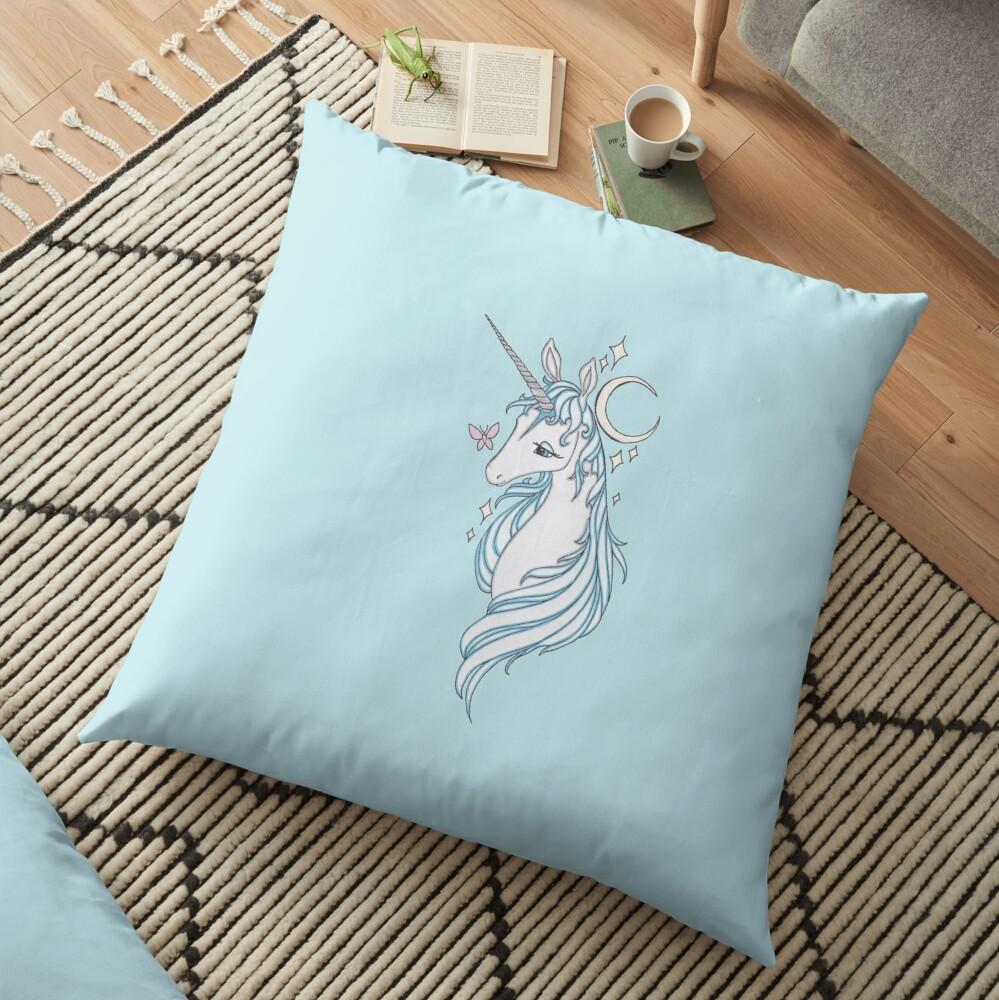 The Last Unicorn Drawing Floor Pillow