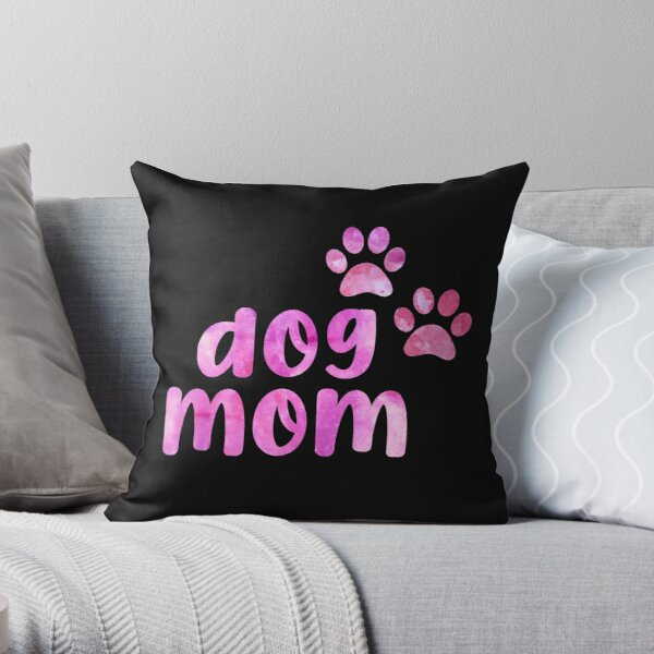 Dog mom Dont Buy Adopt I love dogs Watercolor watercolour dog pink Throw Pillow