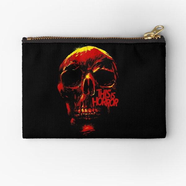 This Is Horror Classic Red on Black Skull Zipper Pouch