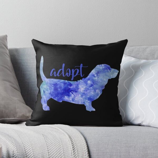 Dont Buy Adopt Good Dog I love dogs Watercolor blue watercolour dog blue Throw Pillow