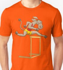 Donkey running and jumping over a hurdle Unisex T-Shirt