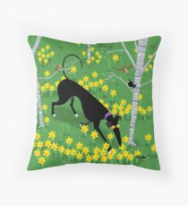 Daffodil Hound Throw Pillow