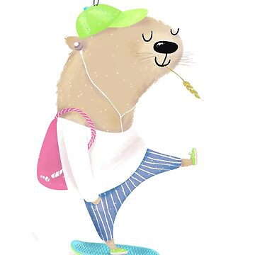 skating otter by solarlullaby