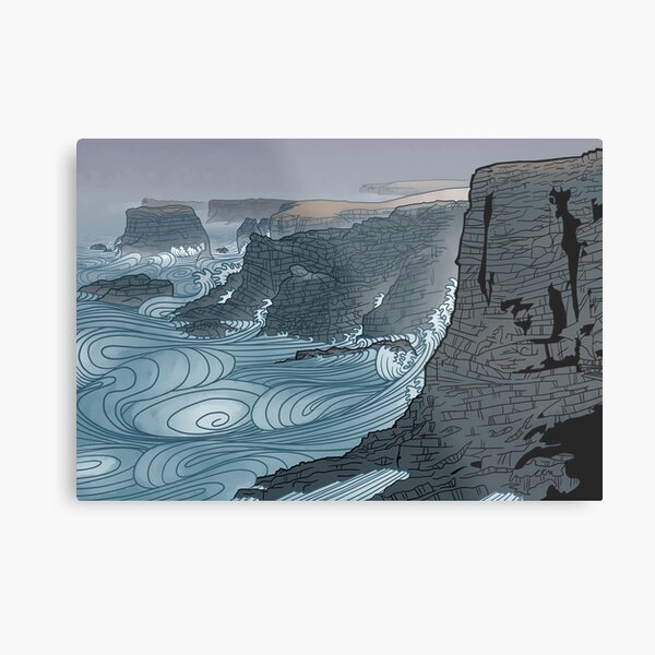 Japanese watercolour and wood print inspired Shetland cliffs  Metal Print