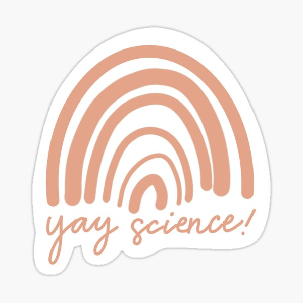 Yay science! Coral Rainbow Hand Lettered Sticker