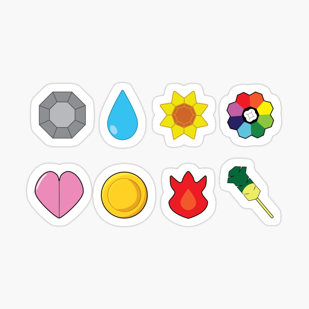 Kanto Gym Badges Sticker