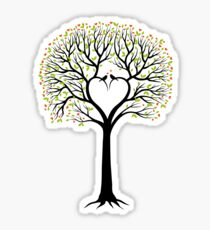 Wedding tree with heart shaped branches and birds Sticker