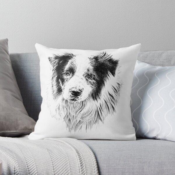 Fergus the Border Collie Throw Pillow