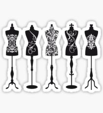 Vintage fashion mannequins silhouettes Sticker