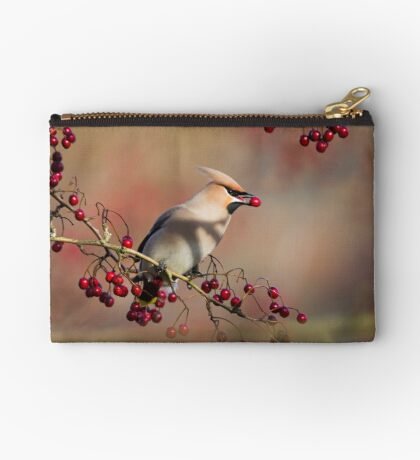 Waxwing with berry Studio Pouch