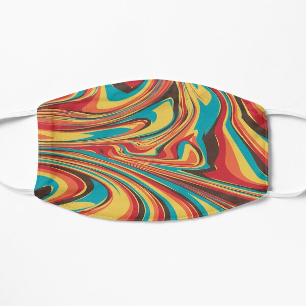 Geometric Colourful Psychedelic Ripple Pattern Flat Mask