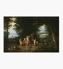 Jan Brueghel - Landscape With Ceres. Vintage surrealism  oil famous painting : goddess Ceres, garden, floral flora, still life with fruits and vegetables, fruit, vegetable, wonderful flowers. Photographic Print