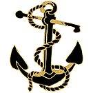 Black And Gold Glitter nautical Boat Anchor by artonwear