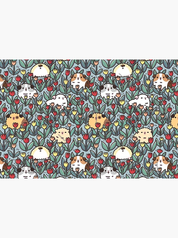 Teddy Guinea pigs and Flowers Pattern by Miri-Noristudio