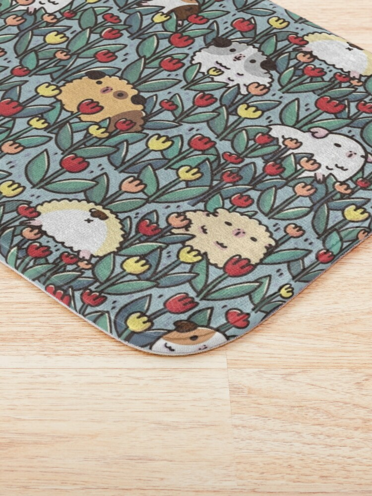 Alternate view of Teddy Guinea pigs and Flowers Pattern Bath Mat