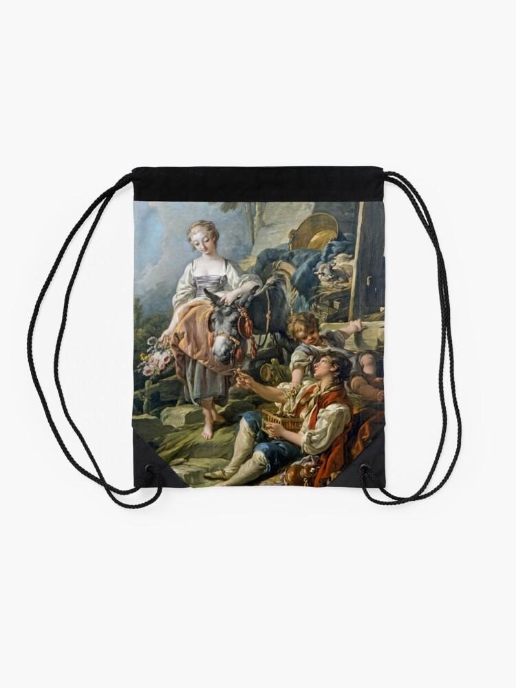 Alternate view of A Village Offering Detail François Boucher Drawstring Bag
