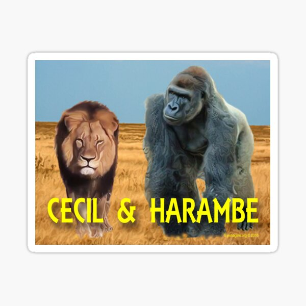 Harambe and Cecil Together Sticker
