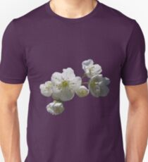 cherry tree in blossoms on lilac grey background T-Shirt