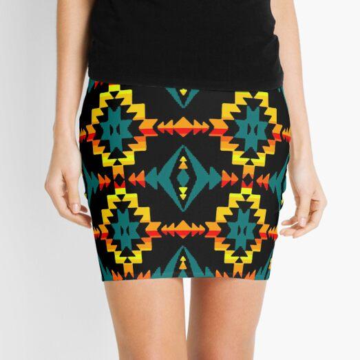 Native American Teal Geometric Design  Mini Skirt