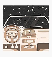 Vehicle interior. Inside car. Night sky Photographic Print