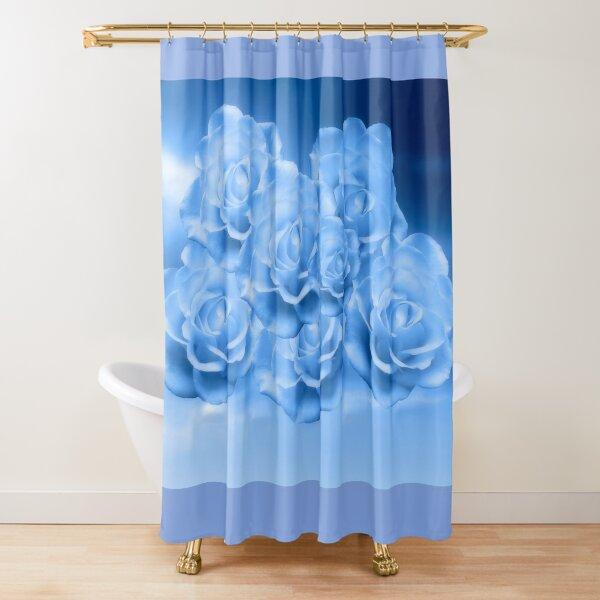 Heavenly Light Blue Roses Shower Curtain