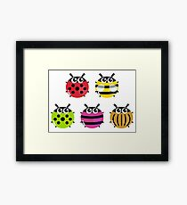 Various bugs collection. Vector cartoon Illustration Framed Print