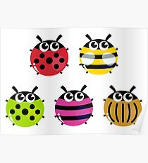 Various bugs collection. Vector cartoon Illustration Poster