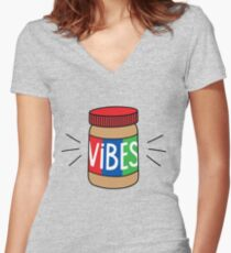 Peanut Butter Vibes Women's Fitted V-Neck T-Shirt