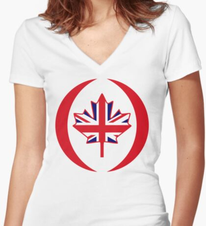 British Canadian Multinational Patriot Flag Series Fitted V-Neck T-Shirt
