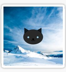 Dragonfly - Kawaii Black Cat Blue Eyes - Mountain Background Sticker