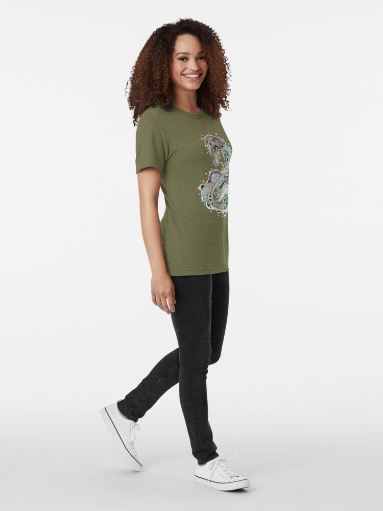 Alternate view of Saber-toothed Serpent in Space Tri-blend T-Shirt