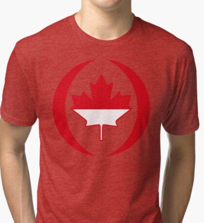 Indonesian Canadian Multinational Patriot Flag Series Tri-blend T-Shirt