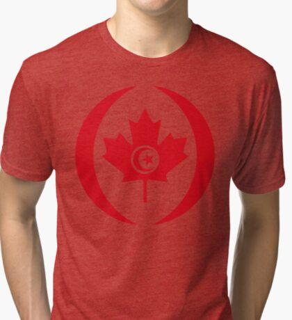 Tunisian Canadian Multinational Patriot Flag Series Tri-blend T-Shirt