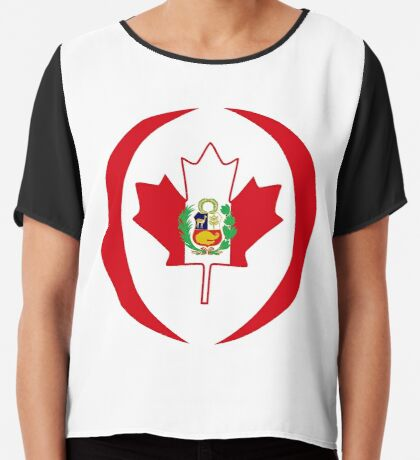 Peruvian Canadian Multinational Patriot Flag Series Chiffon Top