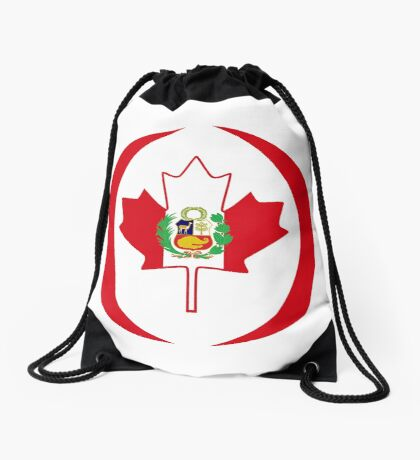 Peruvian Canadian Multinational Patriot Flag Series Drawstring Bag