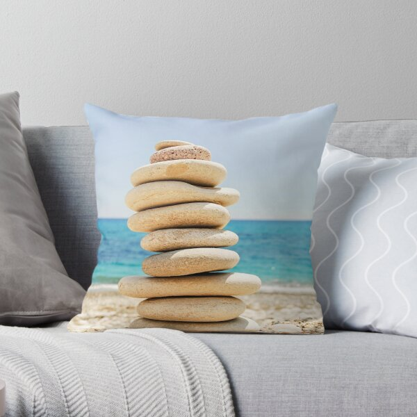 Coastal Cairn Throw Pillow