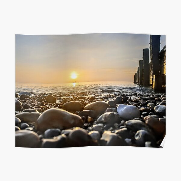 Pebbles, Sunrise and Boat Poster