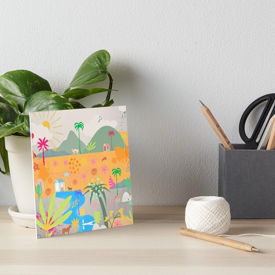 Palm and River Landscape Art Board Print