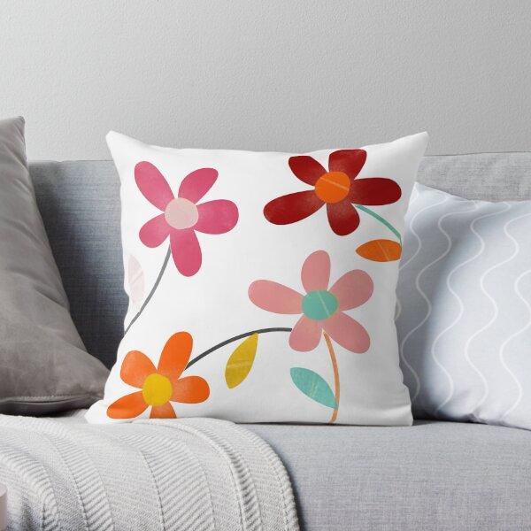 Aesthetic fun and artsy graphic watercolor vibrant flowers floral sketch- Caroline Laursen Original Throw Pillow