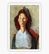 Young Girl, Seated, by Amedeo Modigliani Sticker