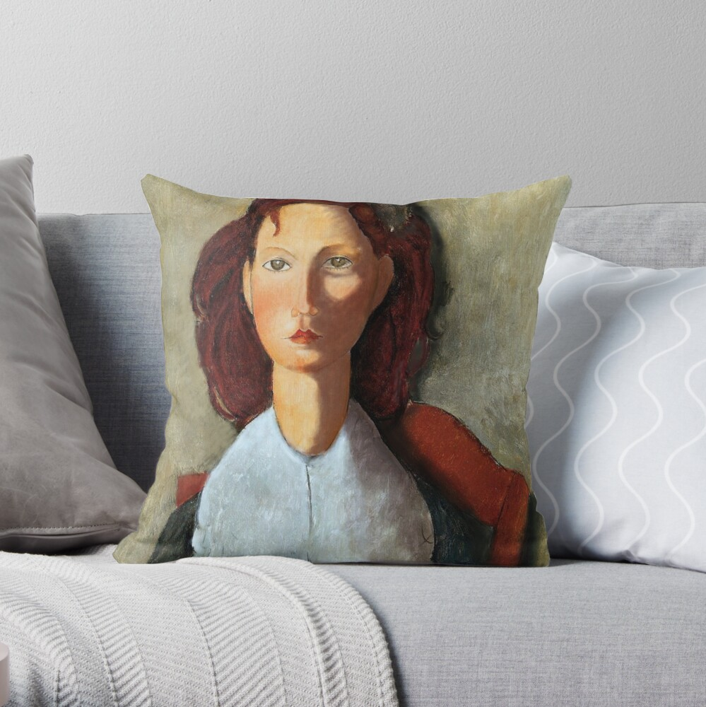 Young Girl, Seated, by Amedeo Modigliani Throw Pillow