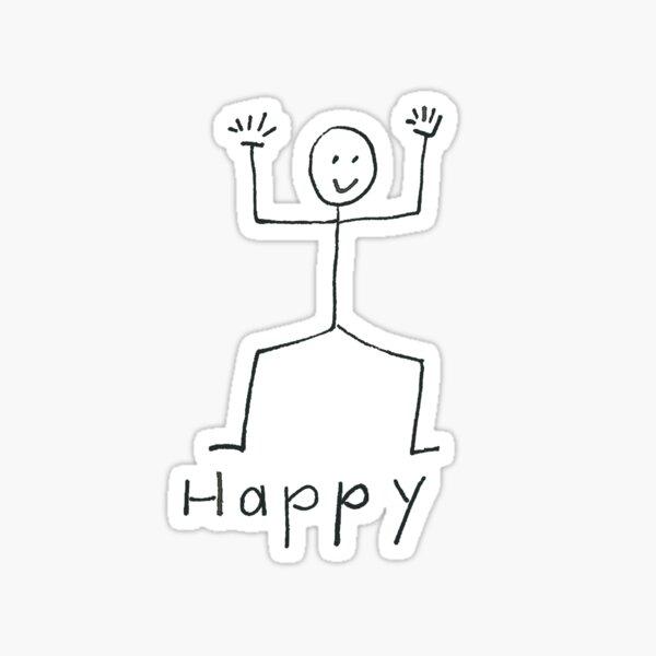 I am Happy - Stick Figure Series Sticker