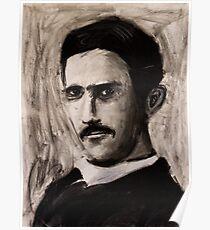 Nikola Tesla charcoal drawing Poster
