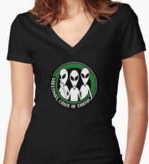 Welcome, cows of Earth! Women's Fitted V-Neck T-Shirt