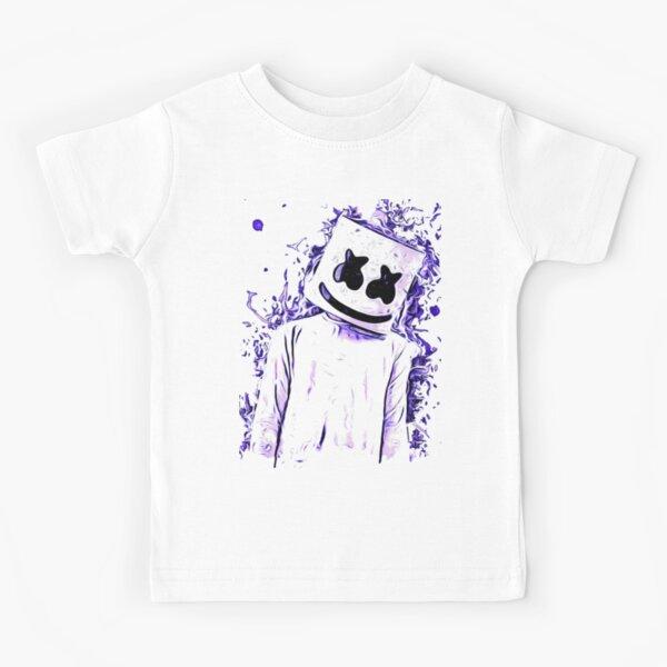 Blue Neon Marshmello  Kids T-Shirt