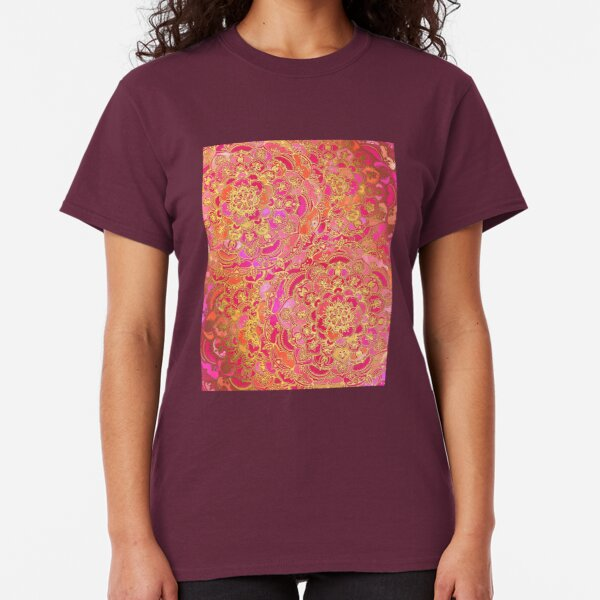 Hot Pink and Gold Baroque Floral Pattern Classic T-Shirt