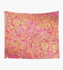 Hot Pink and Gold Baroque Floral Pattern Wall Tapestry