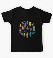 Robots in Space - black - fun pattern by Cecca Designs Kids T-Shirt