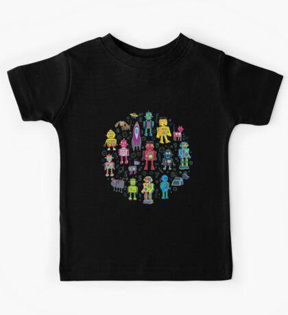 Robots in Space - black - fun pattern by Cecca Designs Kids Clothes