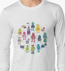 Robots in Space - black Long Sleeve T-Shirt